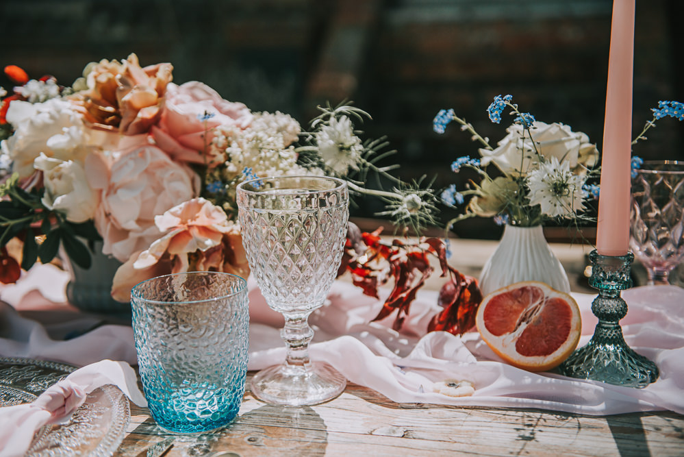 Tablescape Gold Chair Chiffon Table Runner Taper Candles Flowers Floral Coloured Cut Glass River Romance Wedding Ideas Mindy Coe Photography