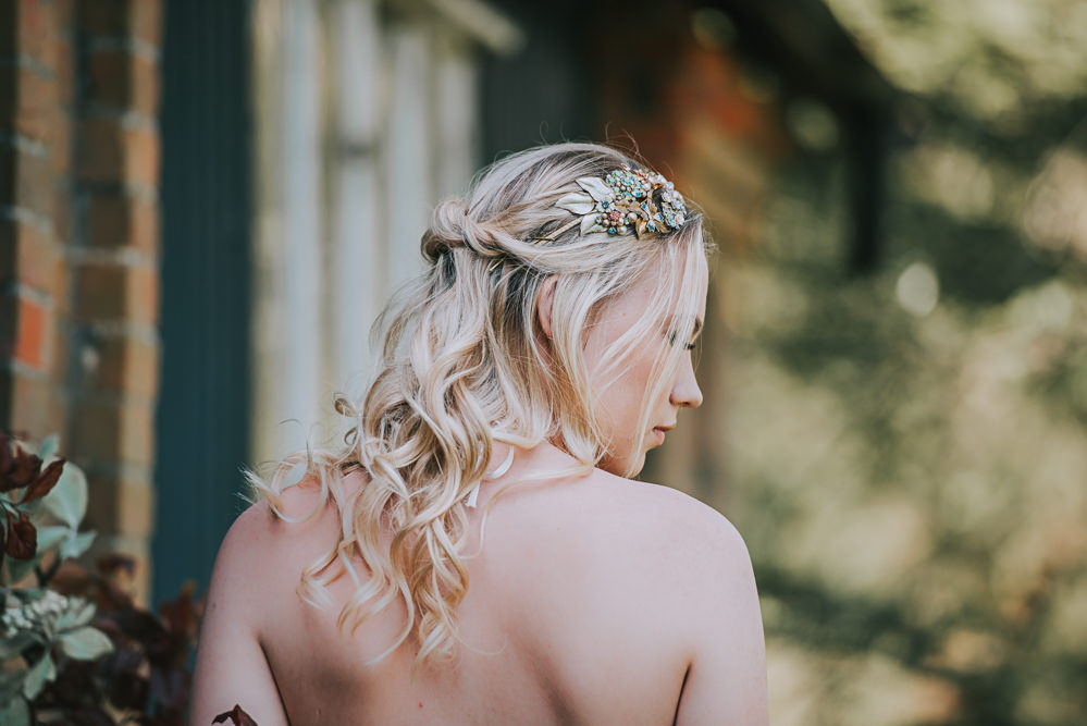 Undone Hair Loose Waves Plait Bride Bridal Hairpiece Leaf Floral River Romance Wedding Ideas Mindy Coe Photography