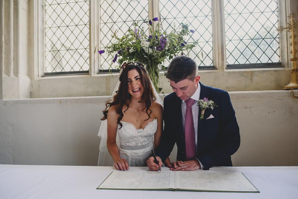 Bride Bridal Strapless Lace Blue Dress Gown M&S Navy Blue Groom Pink Tie Veil Rustic Barn Wedding Georgia Rachael Photography