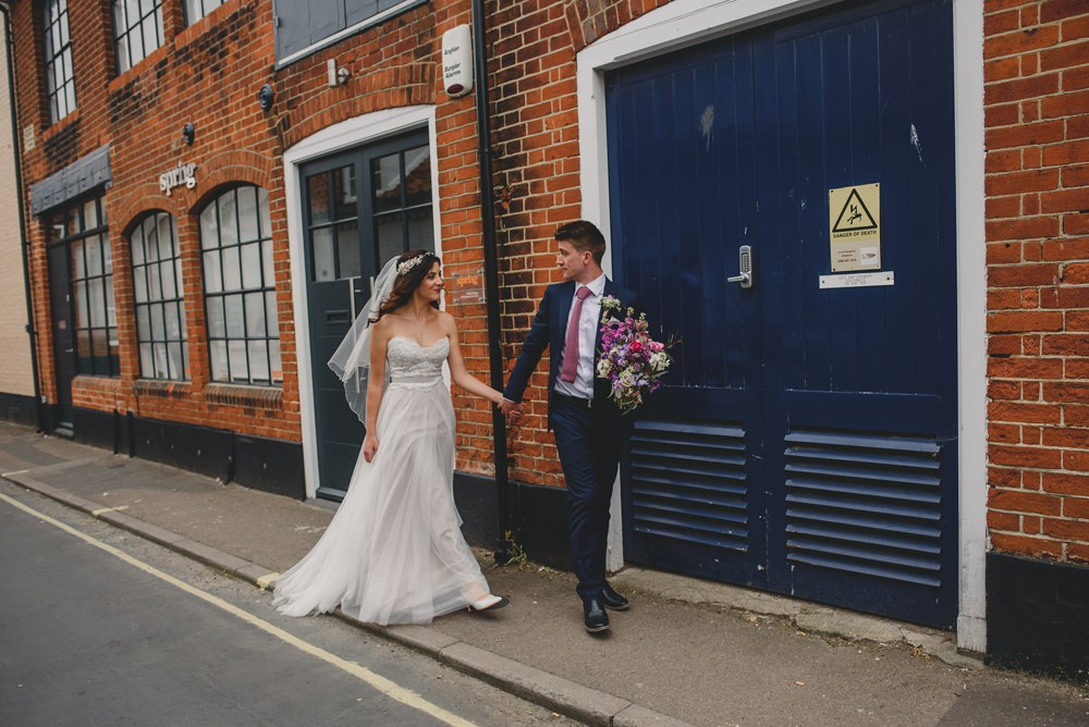 Bride Bridal Strapless Lace Blue Dress Gown M&S Navy Blue Groom Pink Bouquet Veil Pink Tie Rustic Barn Wedding Georgia Rachael Photography