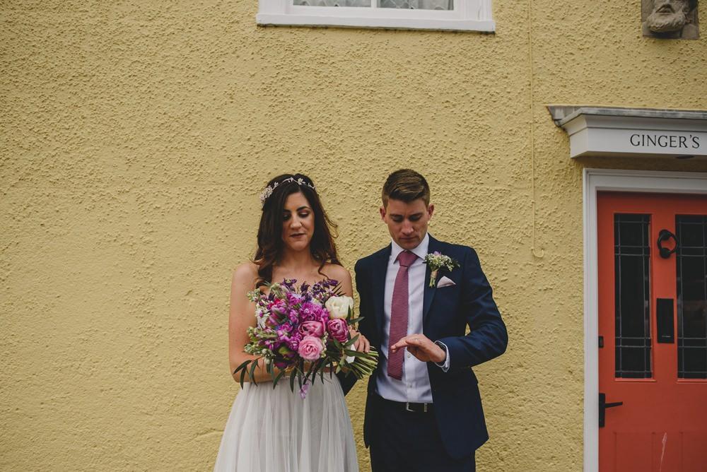 Bride Bridal Strapless Lace Blue Dress Gown M&S Navy Blue Groom Pink Bouquet Veil Rustic Barn Wedding Georgia Rachael Photography