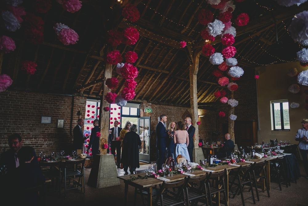 Pink White Tissue Pom Poms Decor Fairy Lights Rustic Barn Wedding Georgia Rachael Photography
