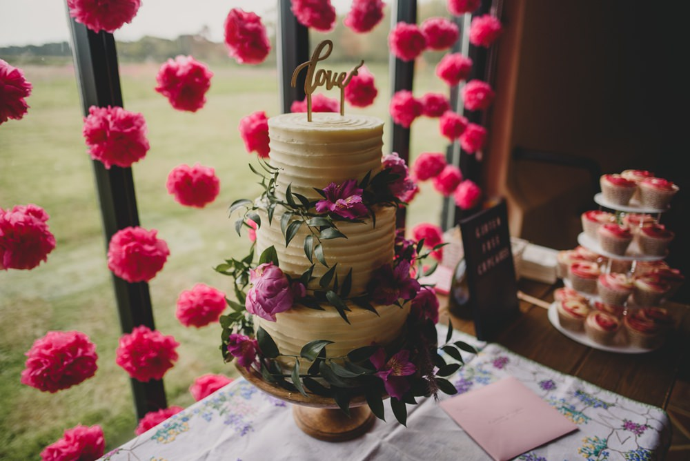 Buttercream Cake Pink Flowers Tissue Pom Poms Rustic Barn Wedding Georgia Rachael Photography