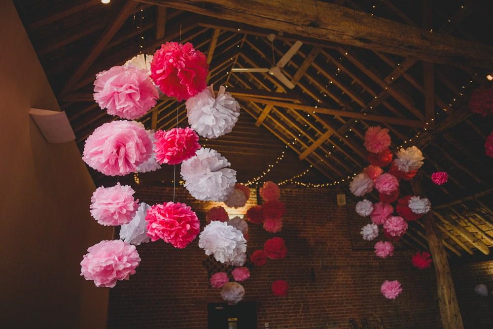 Pink White Tissue Pom Poms Decor Hanging Fairy Lights Rustic Barn Wedding Georgia Rachael Photography