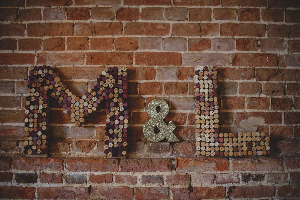 Initials Corks Letter Rustic Barn Wedding Georgia Rachael Photography