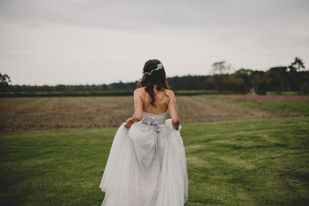 Bride Bridal Strapless Lace Blue Grey Dress Gown Rustic Barn Wedding Georgia Rachael Photography