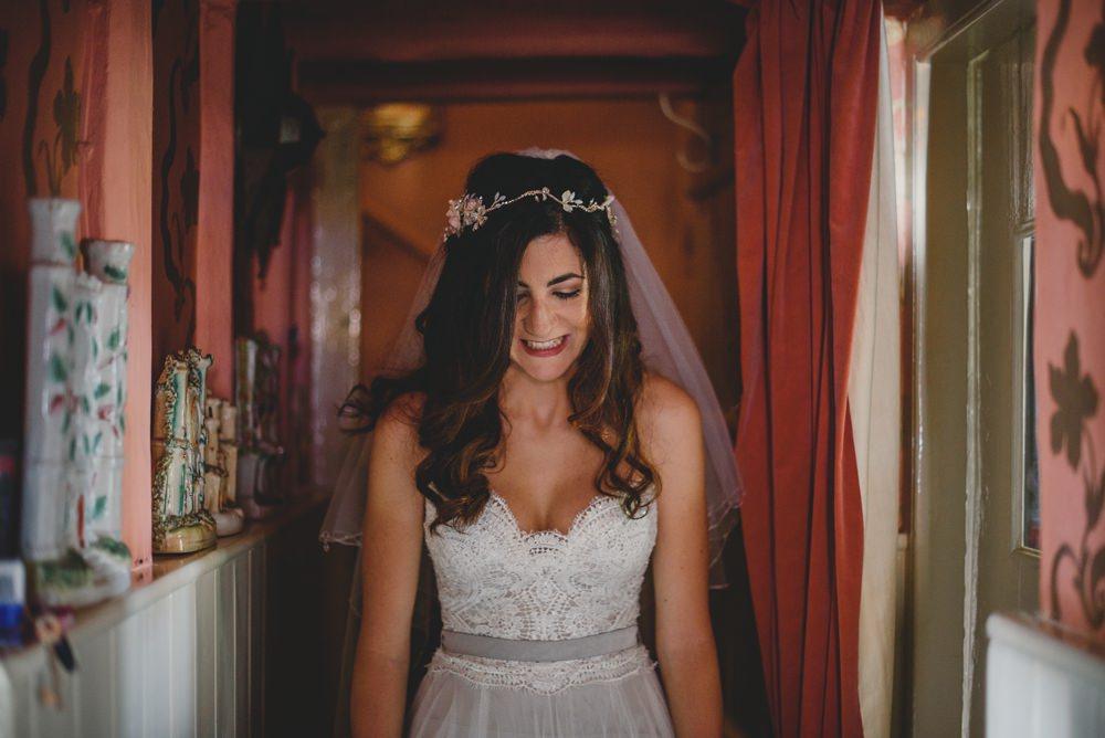 Bride Bridal Strapless Lace Blue Dress Gown Veil Headpiece Rustic Barn Wedding Georgia Rachael Photography