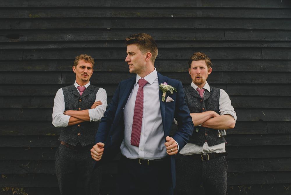 M&S Navy Blue Groom Pink Tie Groomsmen Tweed Grey Waistcoats Rustic Barn Wedding Georgia Rachael Photography