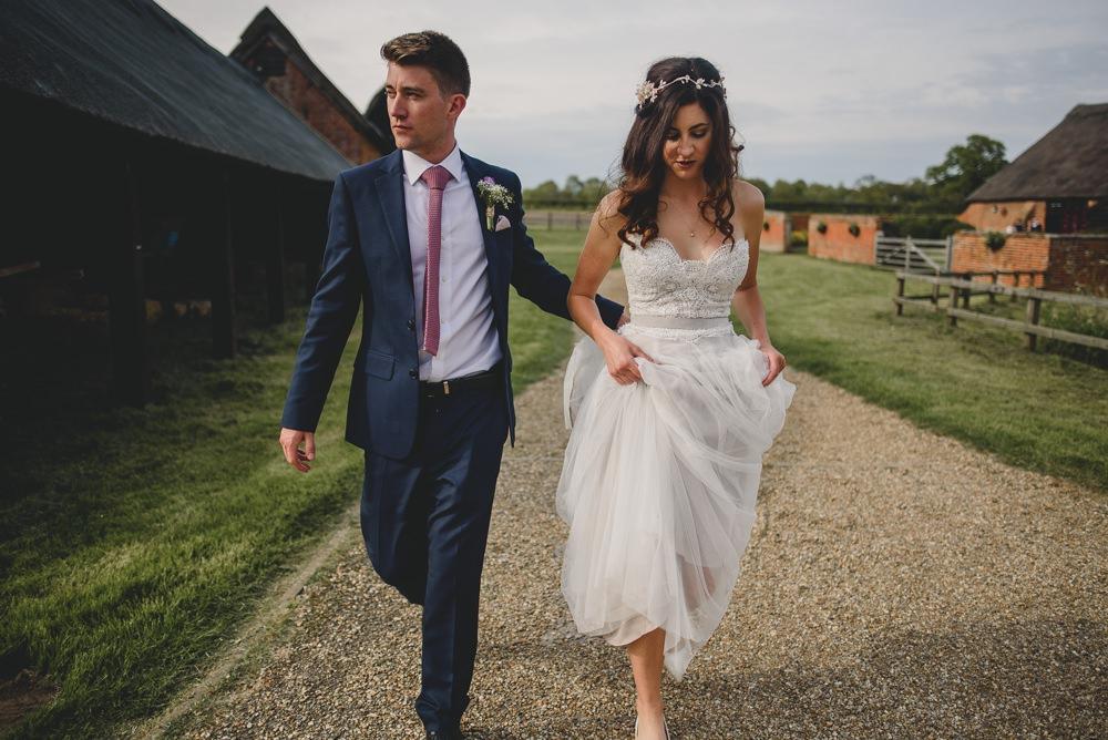Bride Bridal Strapless Lace Blue Dress Gown M&S Navy Blue Groom Pink Tie Hair Vine Rustic Barn Wedding Georgia Rachael Photography