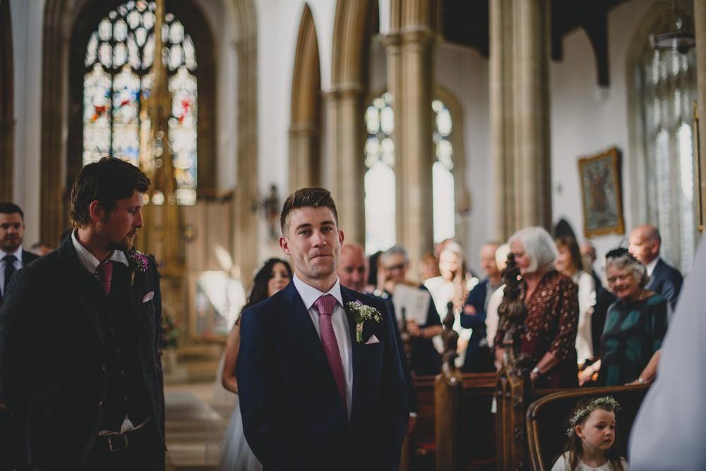 M&S Navy Blue Groom Pink Tie Rustic Barn Wedding Georgia Rachael Photography