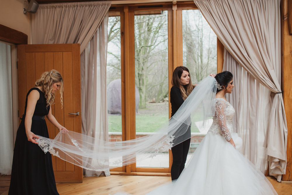 Lace Long Sleeve Dress Embellished A Line Veil Hair Piece Jewelled Diamante Navy Bridesmaids Dress Southwood Hall Wedding Emily Tyler Photography