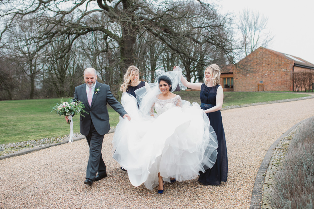 Lace Long Sleeve Dress Embellished A Line Veil Hair Piece Jewelled Diamante Navy Bridesmaids Full Length Southwood Hall Wedding Emily Tyler Photography