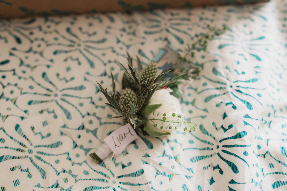 Groom Groomsmen Buttonhole Boutonnière Sea Holly Peony Southwood Hall Wedding Emily Tyler Photography