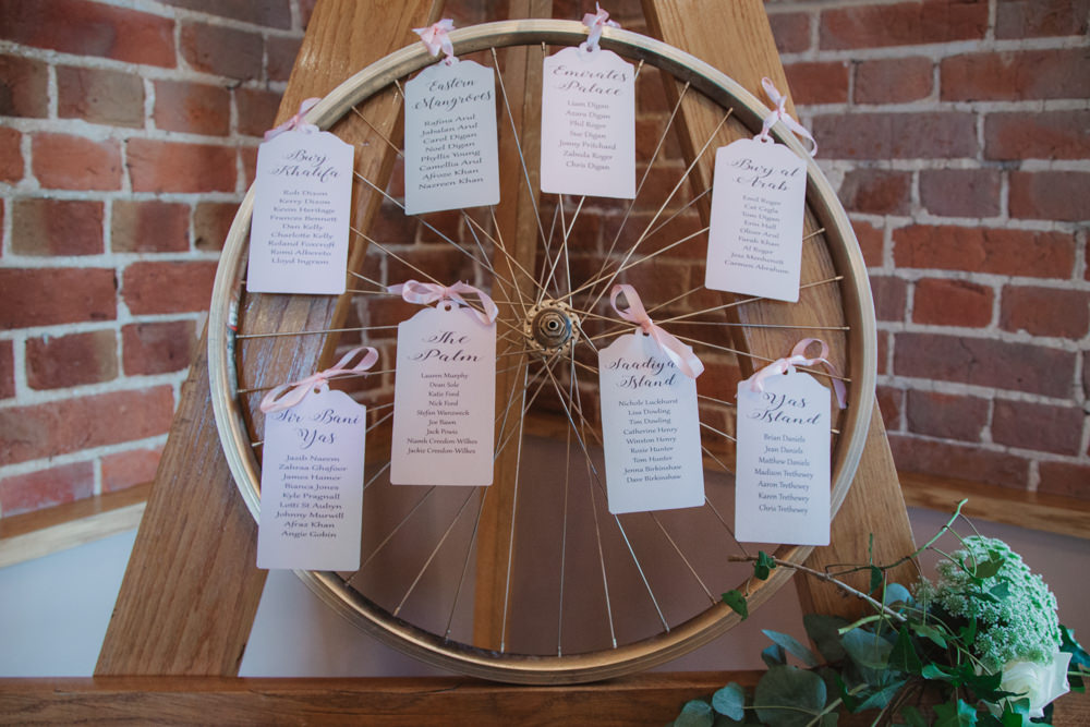 Bike Wheel Table Plan Seating Chart Ribbon Tag Southwood Hall Wedding Emily Tyler Photography