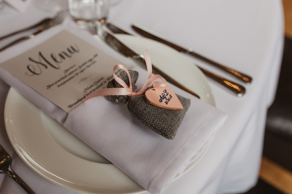 Place Setting Menu Modern Calligraphy Hessian Bag Wooden Heart Tag Southwood Hall Wedding Emily Tyler Photography