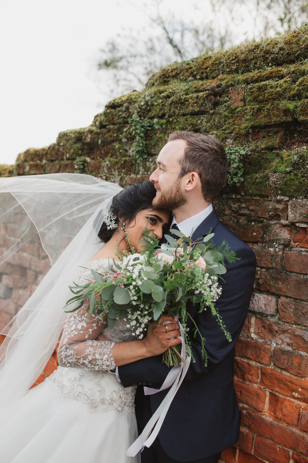 Bride Bridal Lace Long Sleeve Dress Embellished A Line Veil Hair Piece Jewelled Diamante Navy Three Piece Suit Waistcoat Groom Bouquet Eucalyptus Gypsophila Southwood Hall Wedding Emily Tyler Photography