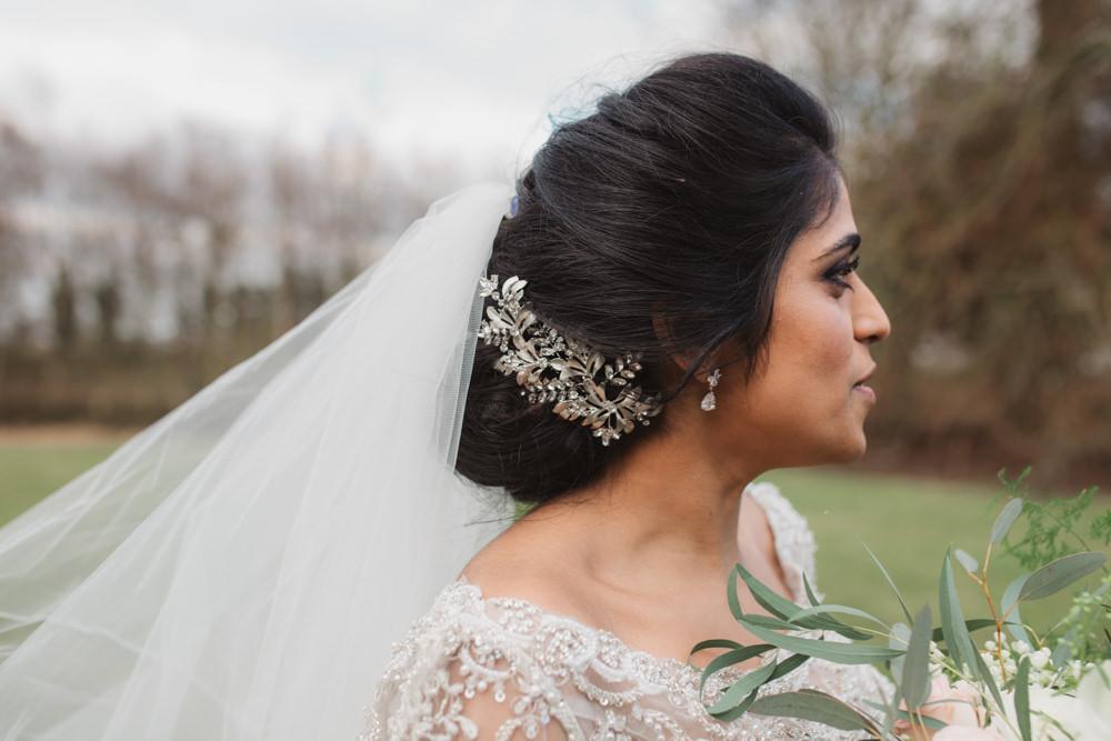 Bride Bridal Lace Long Sleeve Veil Leaf Hairpiece Up Do Southwood Hall Wedding Emily Tyler Photography