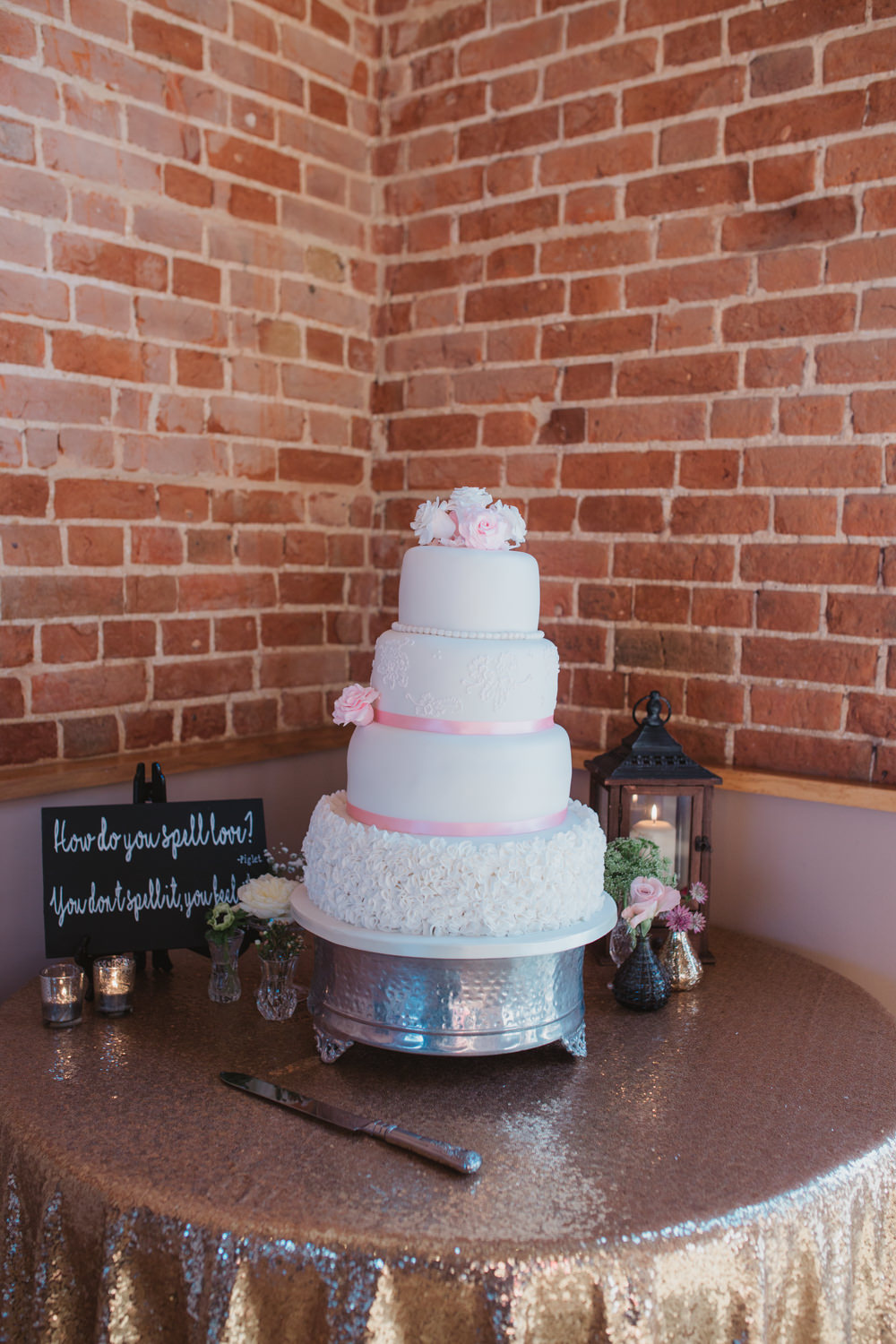 White Icing Cake Four Tier Pink Ribbon Rose Table Southwood Hall Wedding Emily Tyler Photography