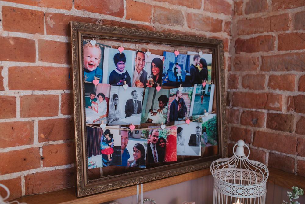 Photo Board Heart Peg Twine Gold Frame Decor Southwood Hall Wedding Emily Tyler Photography