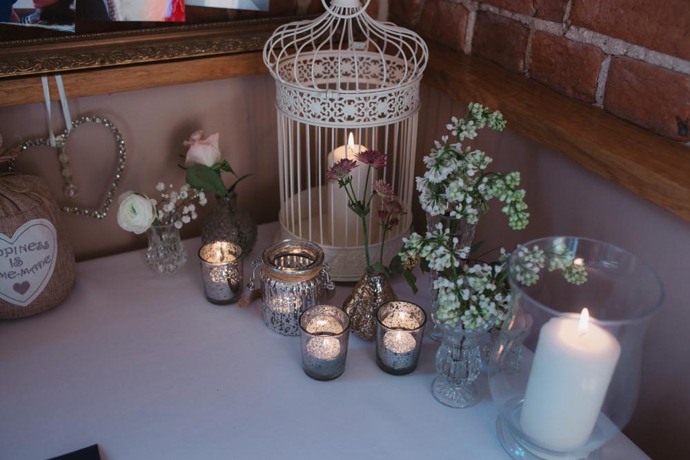 Birdcage Candle Vase Votive Gypsophila Southwood Hall Wedding Emily Tyler Photography