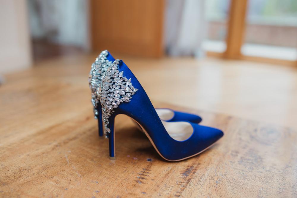 8e5d4f01ef432f Bride Bridal Blue Jewelled Shoes Stilettos Southwood Hall Wedding Emily  Tyler Photography ...
