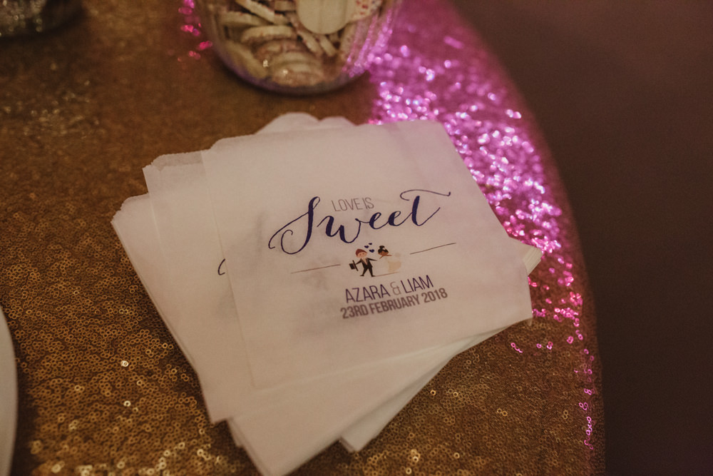 Love Is Sweet Bag Table Sequin Cloth Southwood Hall Wedding Emily Tyler Photography