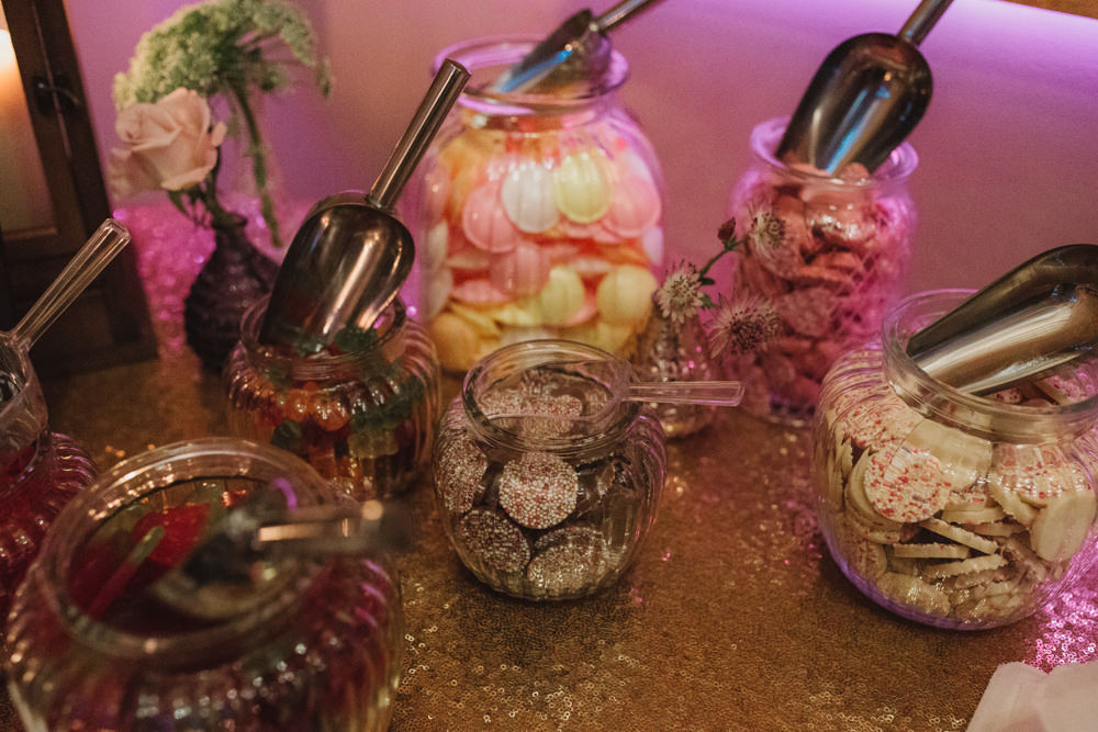 Sweet Table Pick n Mix Vintage Glass Jars Gold Sequin Tablecloth Southwood Hall Wedding Emily Tyler Photography