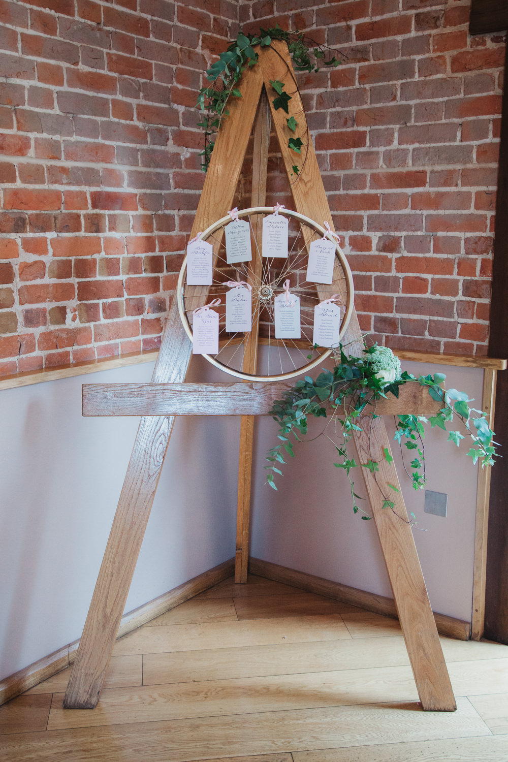 Bike Wheel Table Plan Seating Chart Easel Ivy Southwood Hall Wedding Emily Tyler Photography