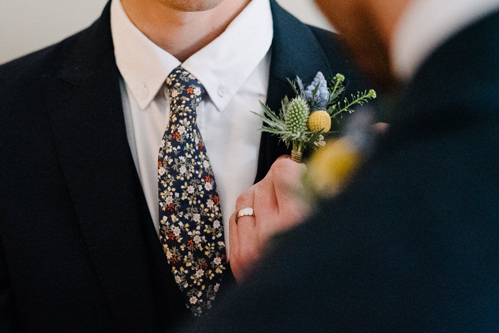 Outdoor Farm Field Marquee Blue Yellow Buttonhole Groom Floral Tie | Rustic and Relaxed Spring Tipi Wedding Inbetween Days Photography