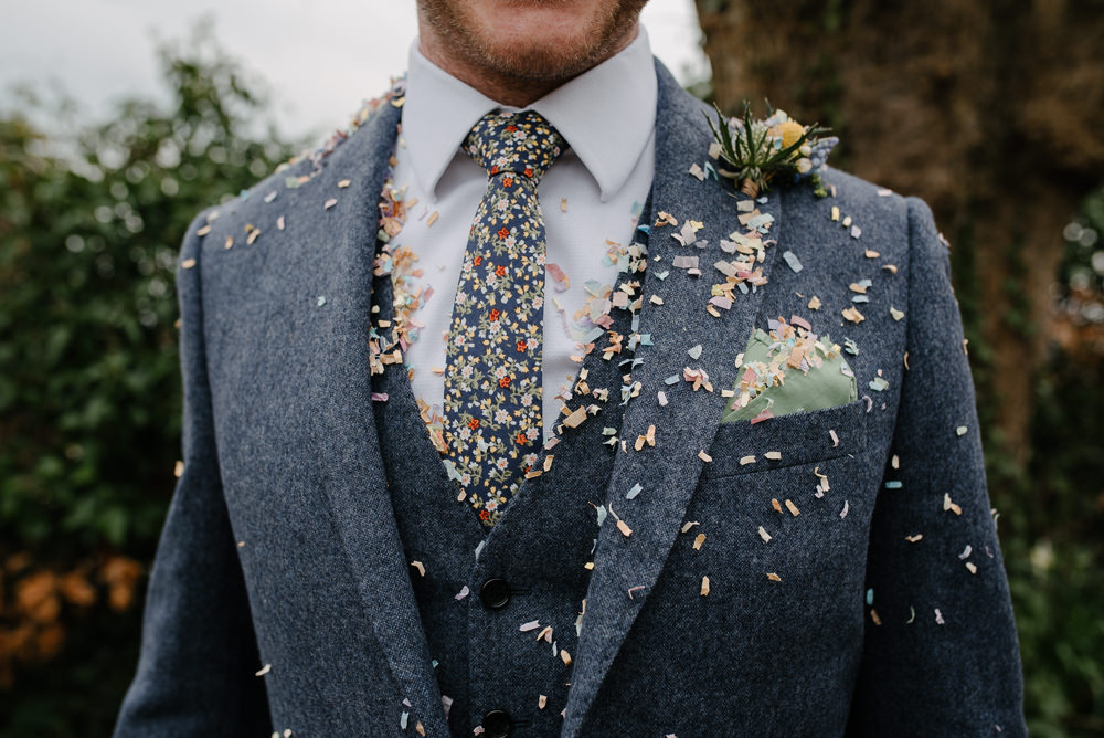 Outdoor Farm Field Marquee Groom Yellow Buttonhole Blue Tartan Weave Suit Floral Tie | Rustic and Relaxed Spring Tipi Wedding Inbetween Days Photography