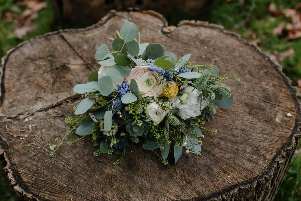 Outdoor Farm Field Marquee Bridal Flowers Modern Green Blue Yellow Bouquet | Rustic and Relaxed Spring Tipi Wedding Inbetween Days Photography