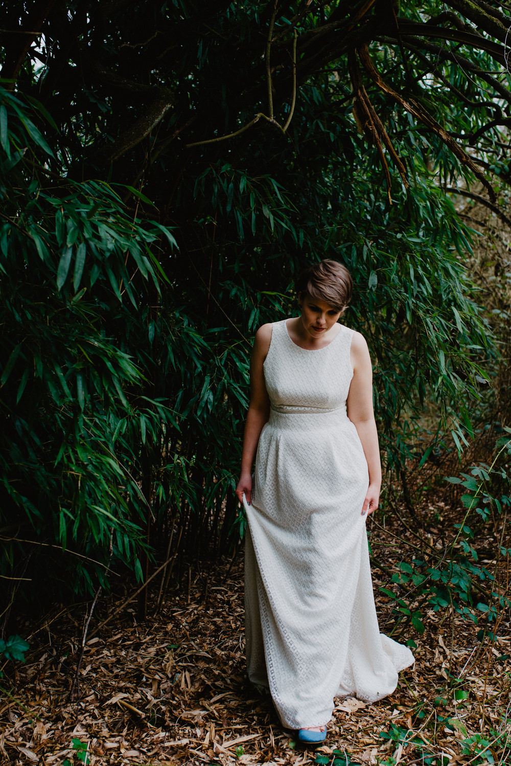 Outdoor Farm Field Marquee Groom Bride Lace Modern Jesus Peiro Two Piece Dress | Rustic and Relaxed Spring Tipi Wedding Inbetween Days Photography