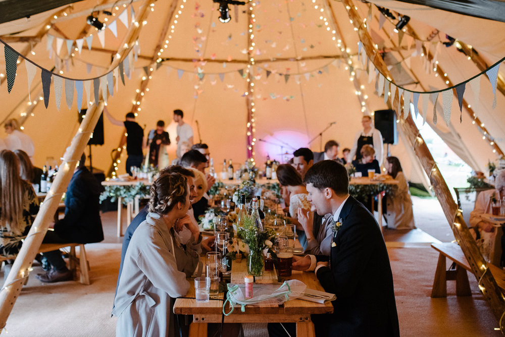 Outdoor Farm Field Marquee Tablescape Decor Blue Green Yellow Flowers Origami Cranes | Rustic and Relaxed Spring Tipi Wedding Inbetween Days Photography