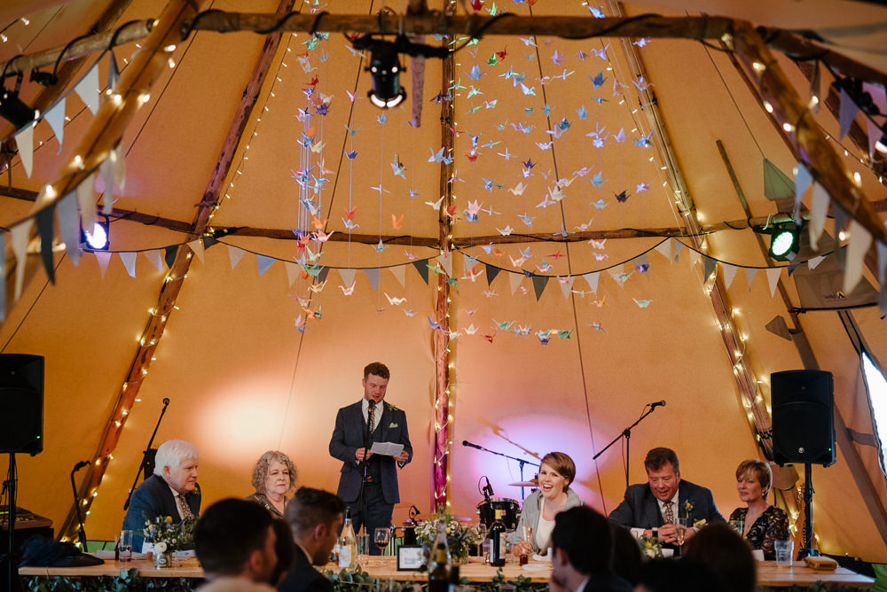 Outdoor Farm Field Marquee Decor Origami Cranes Speeches Reception Dinner | Spring Tipi Wedding Inbetween Days Photography