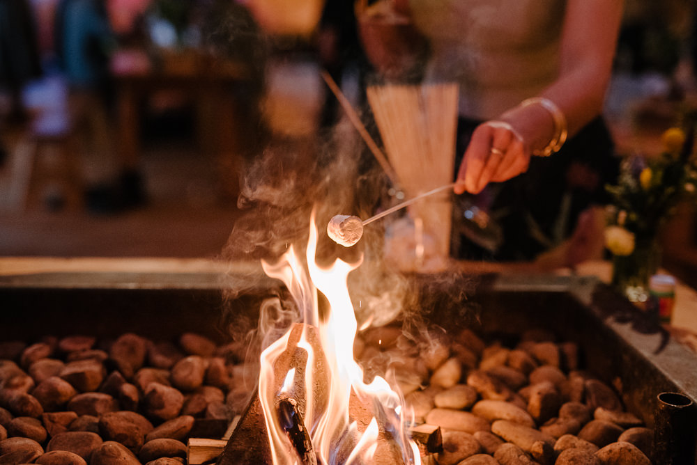 Outdoor Farm Field Marquee Marshmallow Station Smores Bonfire Night | Relaxed and Rustic Spring Tipi Wedding Inbetween Days Photography