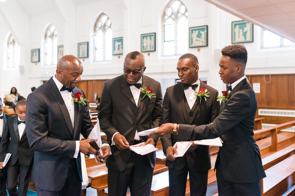 Hugo Boss Groom Tuxedo Groomsmen Stoke Place Wedding Hannah McClune Photography