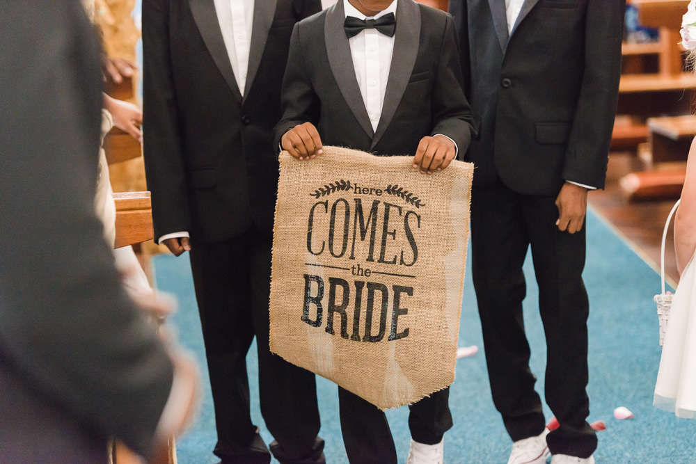 Here Comes the Bride Hessian Banner Page Boy Stoke Place Wedding Hannah McClune Photography