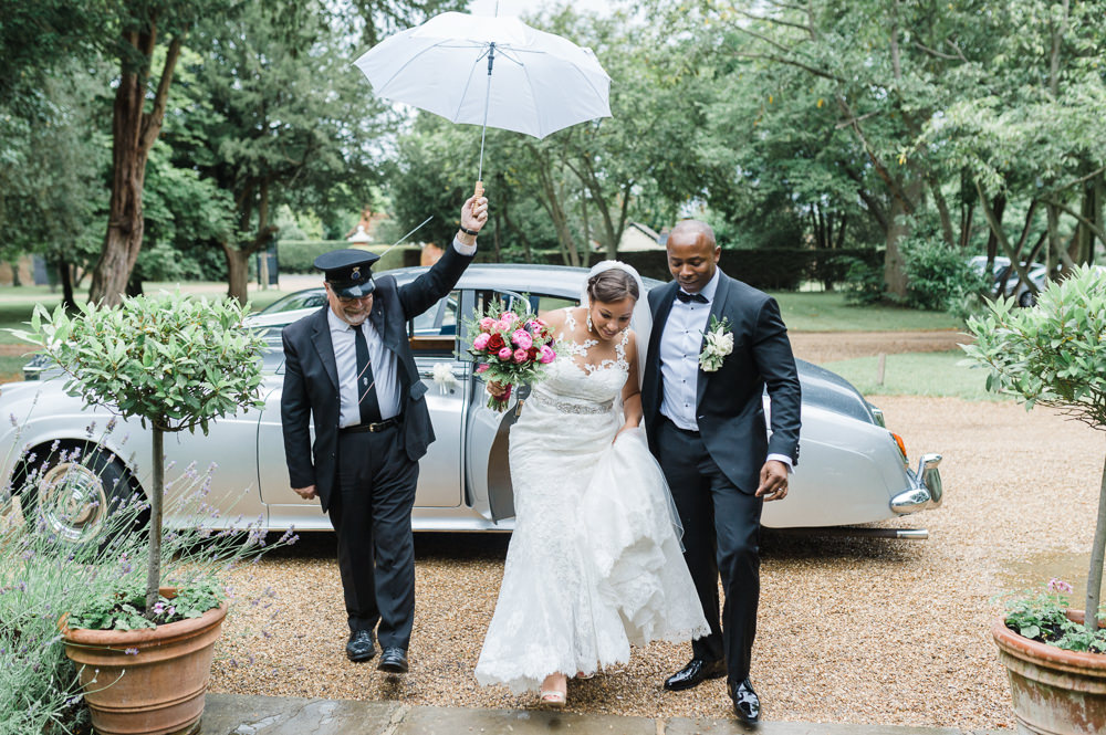 Bride Bridal La Sposa Fit & Flare Lace Dress Gown Floor Length Veil Pink Red Bouquet Hugo Boss Tuxedo Groom Rainy White Umbrella Stoke Place Wedding Hannah McClune Photography