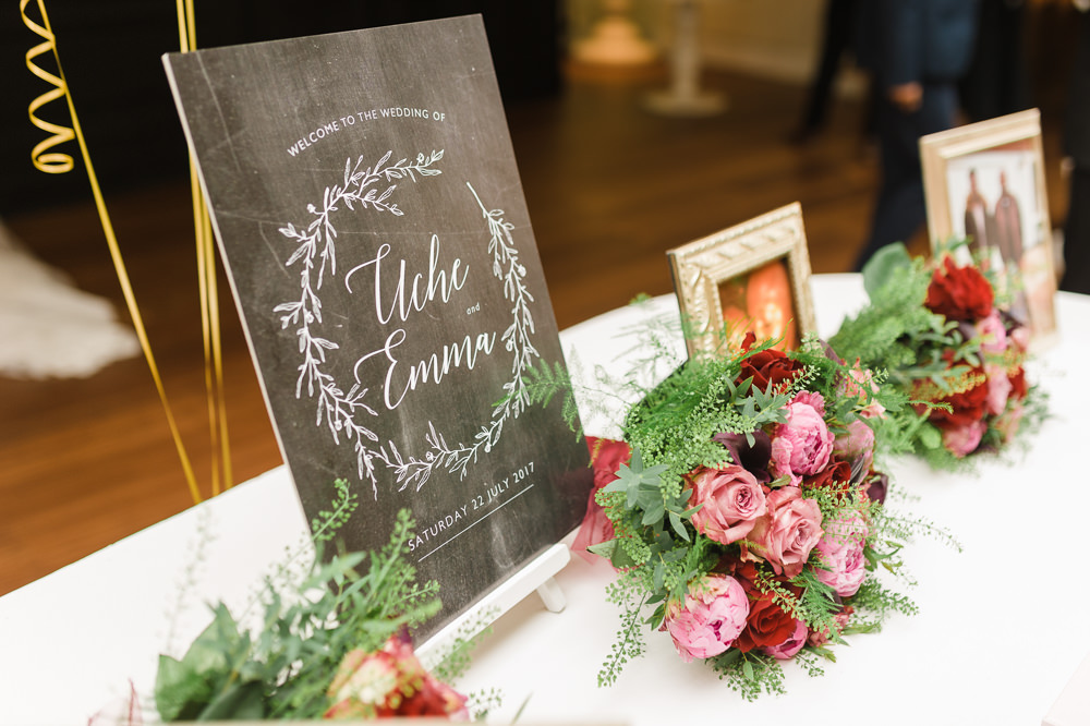 Chalk Board Easel Modern Calligraphy Wreath Photograph Table Pink Red Bouquets Stoke Place Wedding Hannah McClune Photography