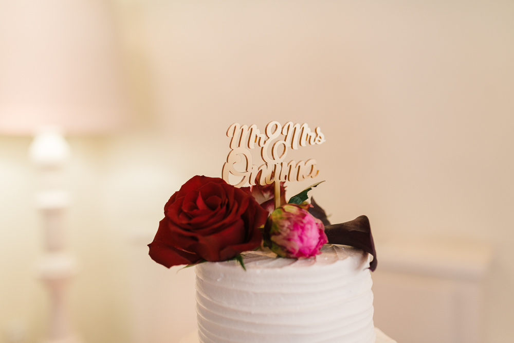 Cake Topper Mr & Mrs Red Pink Rose Stoke Place Wedding Hannah McClune Photography