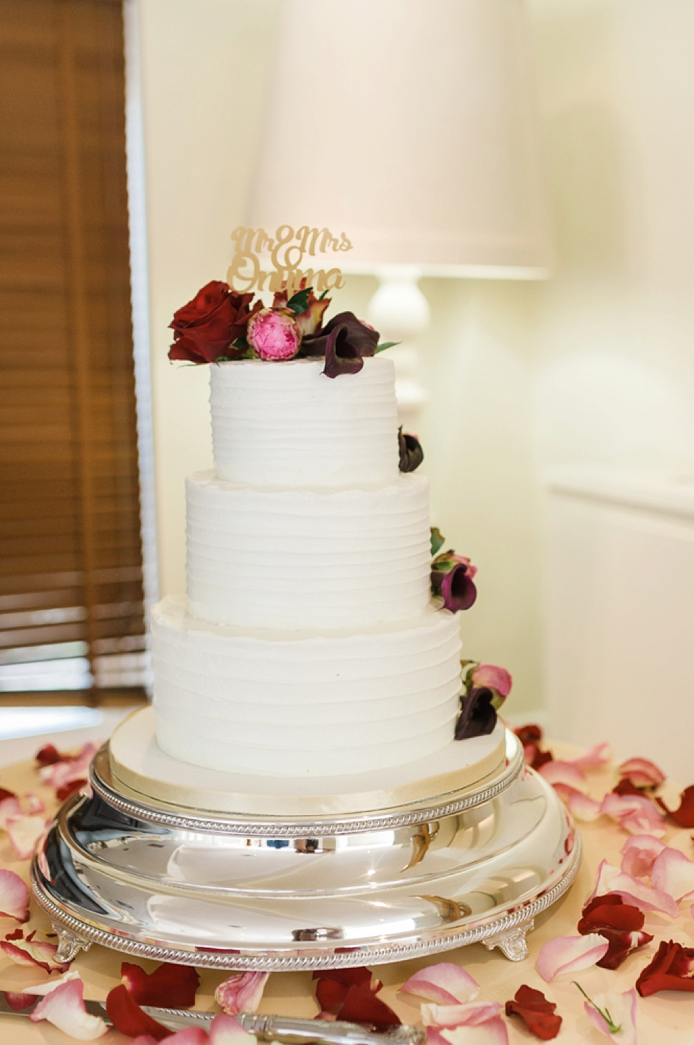 Cake Buttercream Flowers Floral Pink Red Mr & Mrs Cake Topper Stoke Place Wedding Hannah McClune Photography
