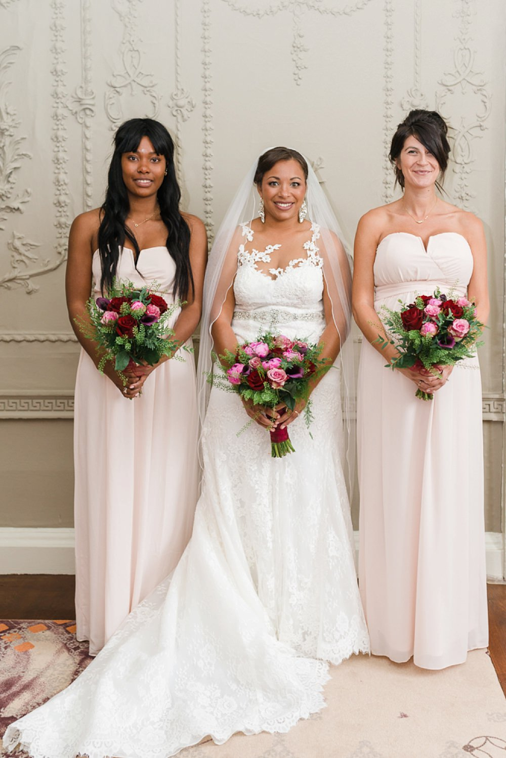 Bride Bridal La Sposa Fit & Flare Lace Dress Gown Floor Length Veil Pink Red Bouquet Pink Strapless Bridesmaids Stoke Place Wedding Hannah McClune Photography