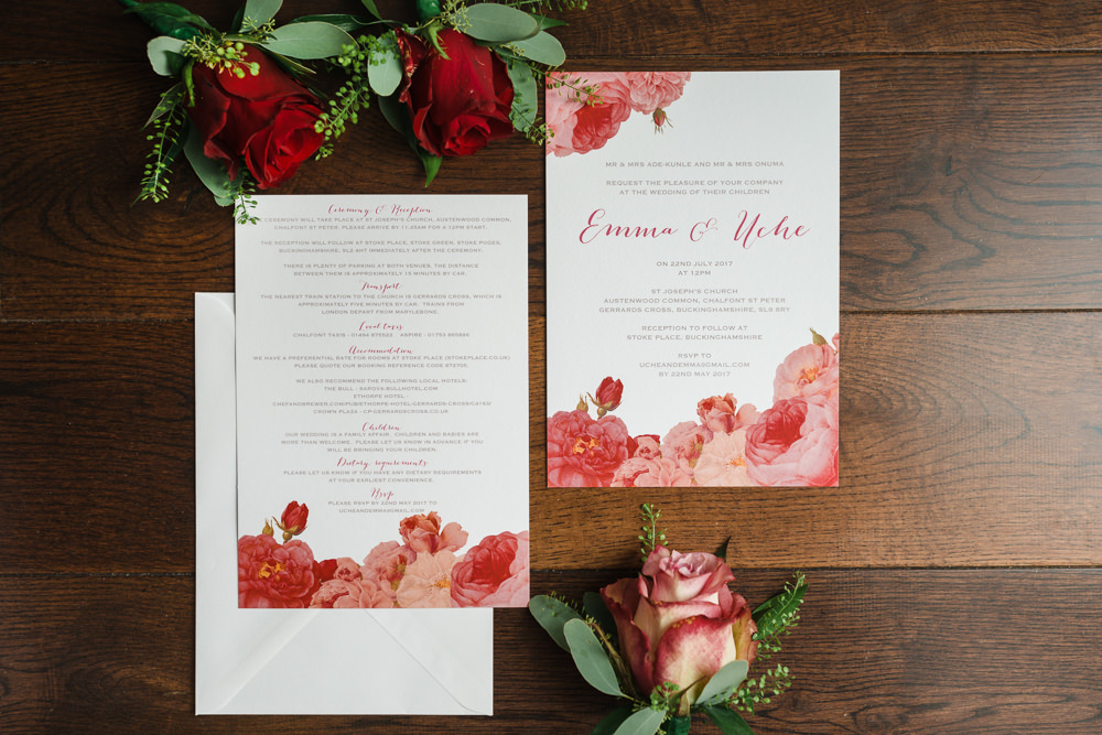 Stationery Invitation Rose Pink Rose Design Stoke Place Wedding Hannah McClune Photography