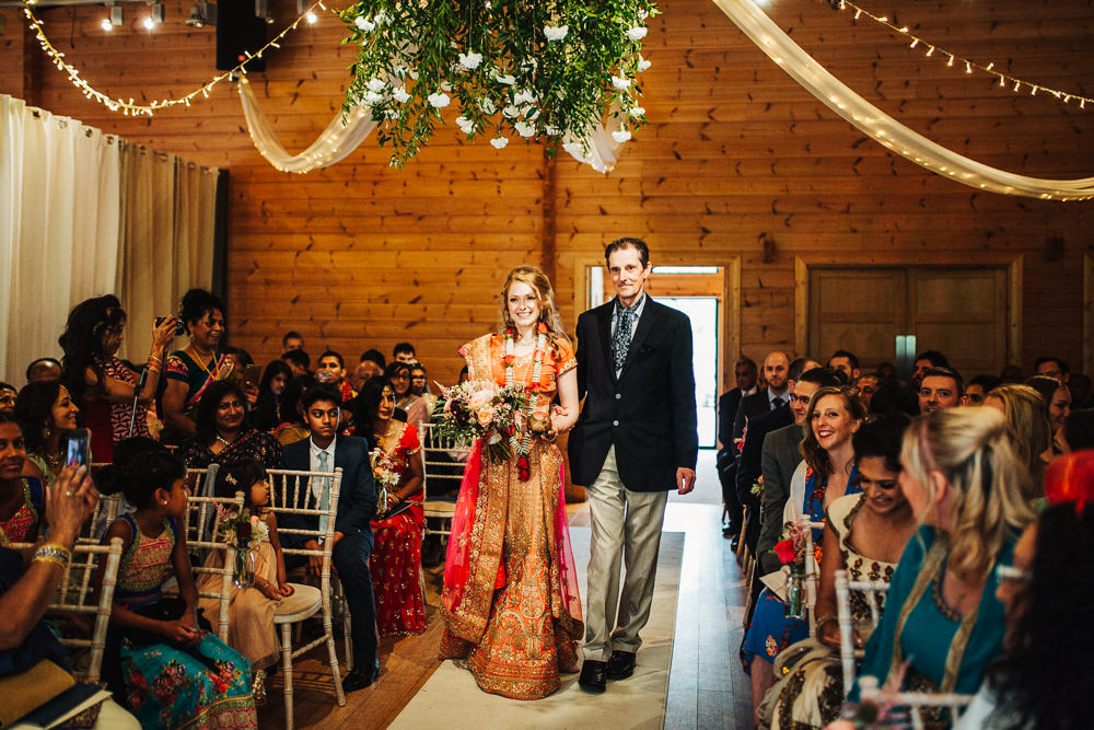 Styal Lodge Multicultural English Orange Pink Mandap Ceremony Ritual Aisle Bride Sari Father | Modern and Colorful Indian Wedding Emilie May Photography
