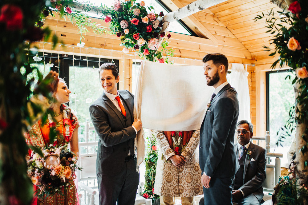 Styal Lodge Multicultural English Orange Pink Mandap Ceremony Ritual Aisle Groom Tradition Reveal | Modern and Colorful Indian Wedding Emilie May Photography