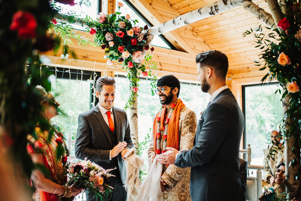 Styal Lodge Multicultural English Orange Pink Mandap Ceremony Ritual Aisle Groom | Modern and Colorful Indian Wedding Emilie May Photography