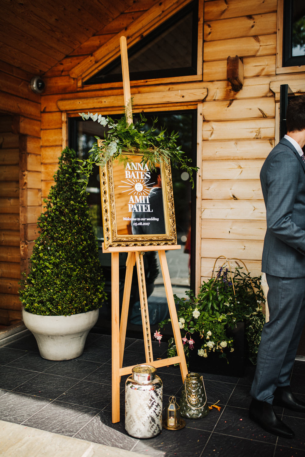 Styal Lodge Multicultural English Ceremony Gold Easel Frame Sign | Modern and Colorful Indian Wedding Emilie May Photography