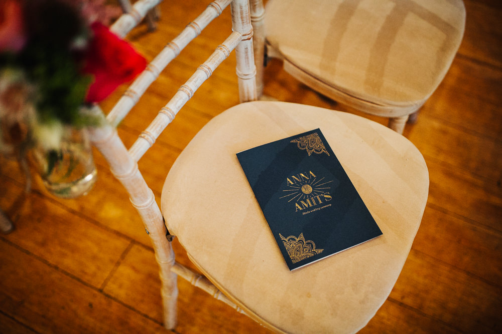 Styal Lodge Multicultural English Ceremony Navy Blue Gold Chiavari Ceremony Flower Chairs | Modern and Colorful Indian Wedding Emilie May Photography