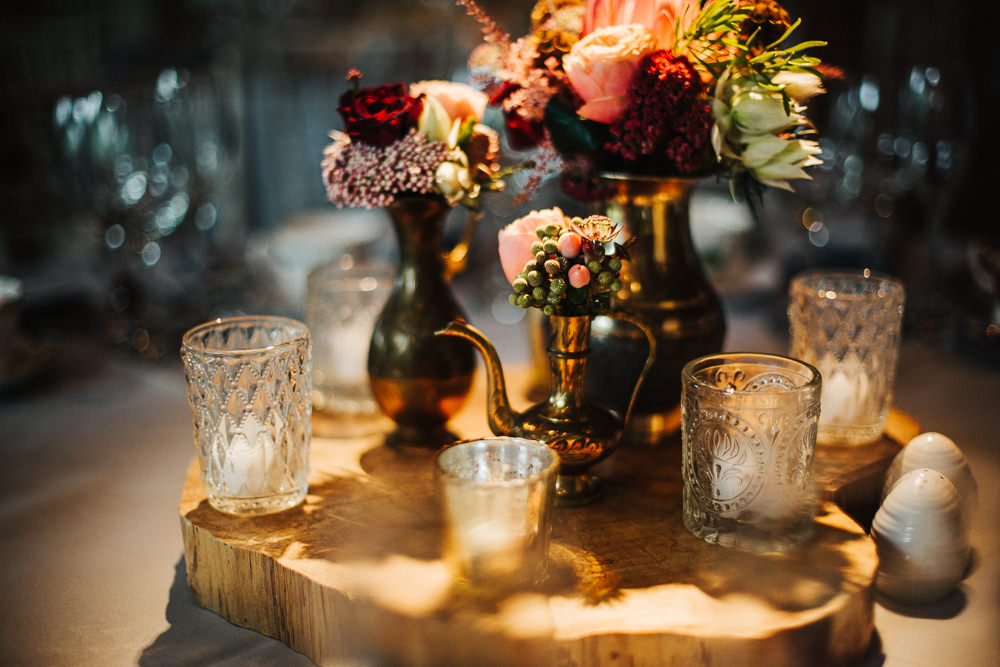 Styal Lodge Multicultural English Orange Pink Table Decor Gold Brass Vases Roses | Modern and Colorful Indian Wedding Emilie May Photography