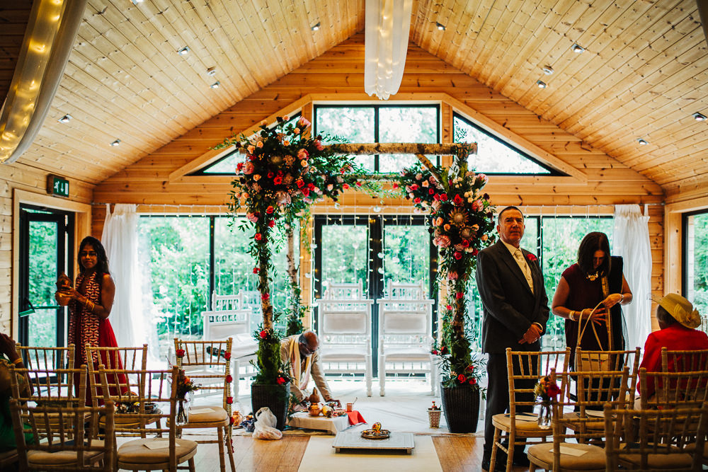 Styal Lodge Multicultural English Orange Pink Mandap Floral Fairy Lights | Modern and Colorful Indian Wedding Emilie May Photography